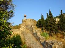 Ρολόι και Belltower, Nafpaktos, Ελλάδα Στοκ φωτογραφία με δικαίωμα ελεύθερης χρήσης