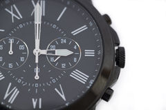Ρολόι που απομονώνεται μαύρο στο λευκό Στοκ φωτογραφία με δικαίωμα ελεύθερης χρήσης