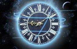 Ρολόι στο διάστημα Στοκ φωτογραφία με δικαίωμα ελεύθερης χρήσης