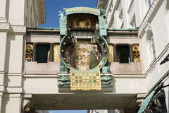 Ρολόι της Anker Ankeruhr, διάσημο αστρονομικό ρολόι στη Βιέννη, Aus Στοκ Εικόνες