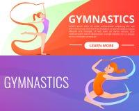 Ρυθμικό σύνολο εμβλημάτων γυμναστικής, ύφος κινούμενων σχεδίων ελεύθερη απεικόνιση δικαιώματος