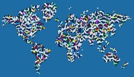 Ρυπογόνος τον κόσμο - ήπειροι που καλύπτονται με το διεσπαρμένο πλαστικό ελεύθερη απεικόνιση δικαιώματος