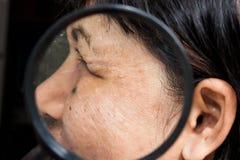 Ρυτίδες στο πρόσωπο Στοκ Φωτογραφία