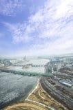 Ρωγμή σε μια επιφάνεια πάγου της παγωμένης τοπ άποψης ποταμών Han στο wint Στοκ φωτογραφίες με δικαίωμα ελεύθερης χρήσης