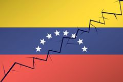 Ρωγμή στη σημαία της Βενεζουέλας, που χωρίζεται σε δύο μέρη ελεύθερη απεικόνιση δικαιώματος
