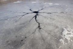 Ρωγμή στον πάγο στην παγωμένη επιφάνεια λιμνών Στοκ Φωτογραφία