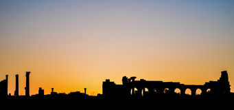 Ρωμαϊκές βασιλική περιοχών Volubilis και σκιαγραφία ηλιοβασιλέματος Capitol Στοκ Εικόνες