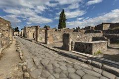Ρωμαϊκή οδός στην Πομπηία, Ιταλία Στοκ Φωτογραφίες