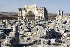 Ρωμαϊκή πόλη αυτοκρατοριών Volubilis στο Μαρόκο, Αφρική Στοκ Φωτογραφία
