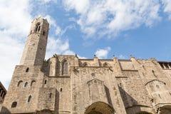Ρωμαϊκοί πύργοι τοίχων και υπεράσπισης της Βαρκελώνης Στοκ φωτογραφίες με δικαίωμα ελεύθερης χρήσης