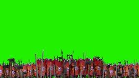 Ρωμαϊκοί σχηματισμοί μάχης λεγεωνών που στέκονται μπροστά από έναν στρατό πριν από τη μάχη σε μια πράσινη οθόνη απεικόνιση αποθεμάτων