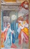 ΡΩΜΗ, ΙΤΑΛΙΑ: Η νωπογραφία Annunciation στο δευτερεύον παρεκκλησι του Di Σάντα Μαρία del Orto Chiesa εκκλησιών από Frederico Zucc Στοκ Φωτογραφίες