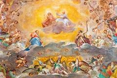 ΡΩΜΗ, ΙΤΑΛΙΑ: Κεντρικό μέρος της νωπογραφίας της δόξας του ουρανού 1630 κύριο apse της εκκλησίας Basilica Di Santi Quattro Corona Στοκ εικόνες με δικαίωμα ελεύθερης χρήσης