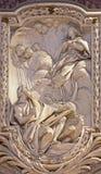 ΡΩΜΗ, ΙΤΑΛΙΑ - 10 ΜΑΡΤΊΟΥ 2016: Η ανακούφιση του οράματος Virgin από την αποκάλυψη του ST John ο Ευαγγελιστής Στοκ εικόνα με δικαίωμα ελεύθερης χρήσης