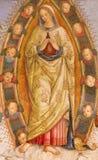 ΡΩΜΗ, ΙΤΑΛΙΑ: Υπόθεση νωπογραφίας της Virgin Mary στο παρεκκλησι Rovere della Basso στο Di Σάντα Μαρία del Popolo βασιλικών εκκλη Στοκ Εικόνα