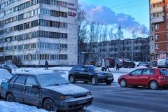 Ρωσία, Αγία Πετρούπολη, οδός 17.01.2013 σε έναν σύγχρονο ύπνο α Στοκ Φωτογραφίες