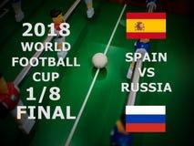 Ρωσία 2018, αγώνας ποδοσφαίρου τελικός Ένας όγδοος του φλυτζανιού Αντιστοιχία Ισπανία εναντίον της Ρωσίας στοκ εικόνα με δικαίωμα ελεύθερης χρήσης