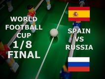 Ρωσία 2018, αγώνας ποδοσφαίρου τελικός Ένας όγδοος του φλυτζανιού Αντιστοιχία Ισπανία εναντίον της Ρωσίας στοκ εικόνα
