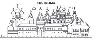 Ρωσία, απεικόνιση οριζόντων γραμμών αρχιτεκτονικής Kostroma Γραμμική διανυσματική εικονική παράσταση πόλης με τα διάσημα ορόσημα, διανυσματική απεικόνιση