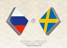 Ρωσία εναντίον της Σουηδίας, ένωση Β, ομάδα 2 Ανταγωνισμός ποδοσφαίρου της Ευρώπης Απεικόνιση αποθεμάτων