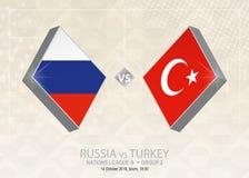 Ρωσία εναντίον της Τουρκίας, ένωση Β, ομάδα 2 Ανταγωνισμός ποδοσφαίρου της Ευρώπης Απεικόνιση αποθεμάτων