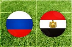 Ρωσία εναντίον του αγώνα ποδοσφαίρου της Αιγύπτου Στοκ Φωτογραφίες