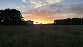 Ρωσία - ηλιοβασίλεμα στον τομέα Στοκ εικόνες με δικαίωμα ελεύθερης χρήσης