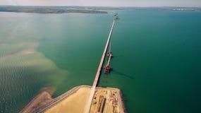 Ρωσία, η κατασκευή της της Κριμαίας γέφυρας Στοκ Εικόνα
