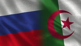 Ρωσία και Αλγερία - σημαία δύο μαζί - σύσταση υφάσματος ελεύθερη απεικόνιση δικαιώματος