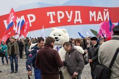 05/01/2015 Ρωσία, Μόσχα Επίδειξη στο κόκκινο τετράγωνο Εργασία DA Στοκ Εικόνα