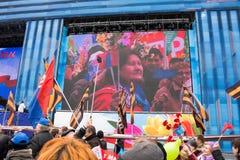 05/01/2015 Ρωσία, Μόσχα Επίδειξη στο κόκκινο τετράγωνο Εργασία DA Στοκ Φωτογραφία