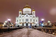Ρωσία, Μόσχα, 06, τον Ιανουάριο του 2018: Άποψη του καθεδρικού ναού Χριστού το Savior από την πατριαρχική γέφυρα το βράδυ στοκ φωτογραφία