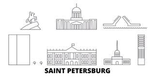 Ρωσία, σύνολο οριζόντων ταξιδιού γραμμών πόλεων Αγίου Πετρούπολη Ρωσία, διανυσματική απεικόνιση πόλεων περιλήψεων πόλεων Αγίου Πε διανυσματική απεικόνιση