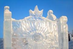Ρωσία, Izhevsk - 28 Ιανουαρίου 2017: Το γλυπτό πάγου στέκεται στο κεντρικό τετράγωνο Στοκ εικόνα με δικαίωμα ελεύθερης χρήσης
