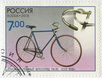ΡΩΣΙΑ - 2008: παρουσιάζει το ποδήλατο διαδρομής αγώνα GM-30, το 1938, τη σειρά τα μνημεία της επιστήμης και τεχνική, ποδήλατα Στοκ Εικόνες