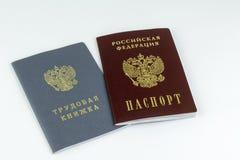 Ρωσικά έγγραφα Βιβλίο εργασίας, αρχείο απασχόλησης, ένα έγγραφο για να καταγράψει την επαγγελματική εμπειρία Ρωσικό εθνικό διαβατ στοκ φωτογραφία με δικαίωμα ελεύθερης χρήσης