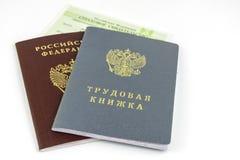 Ρωσικά έγγραφα Βιβλίο εργασίας, αρχείο απασχόλησης, ένα έγγραφο για να καταγράψει την επαγγελματική εμπειρία Ρωσικό εθνικό διαβατ στοκ εικόνες με δικαίωμα ελεύθερης χρήσης