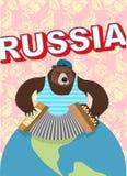 Ρωσικά αντέξτε ΚΑΠ με τη φυσαρμόνικα παιχνιδιών earflaps απεικόνιση αποθεμάτων