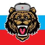 Ρωσικά αντέξτε σημαίαη αρπακτικών ζώων και της Ρωσίας κτηνών ελεύθερη απεικόνιση δικαιώματος