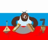 Ρωσικά αντέξτε το ακκορντέον παιχνιδιών Ρωσική σημαία σαμοβάρι διανυσματική απεικόνιση