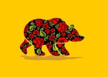 Ρωσικά αντέξτε το hohloma Εθνική λαϊκή ζωγραφική των λουλουδιών Στοκ εικόνα με δικαίωμα ελεύθερης χρήσης