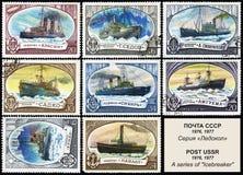 ρωσικά γραμματόσημα ταχυδρομικών τελών παγοθραυστών Στοκ Φωτογραφίες