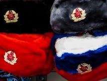 Ρωσικά καπέλα γούνινων σκούφων Στοκ εικόνες με δικαίωμα ελεύθερης χρήσης