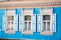 Ρωσικά πλαίσια παραθύρων Στοκ φωτογραφία με δικαίωμα ελεύθερης χρήσης