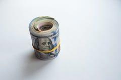 Ρωσικά ρούβλια και αμερικανικά δολάρια στοκ εικόνες