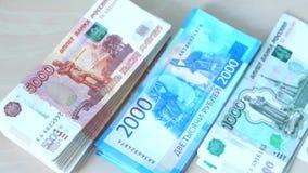Ρωσικά τραπεζογραμμάτια των διαφορετικών τιμών απόθεμα βίντεο