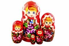 Ρωσικές κούκλες η ανασκόπηση απομόνωσε το λευκό Matryoshka Στοκ Εικόνα