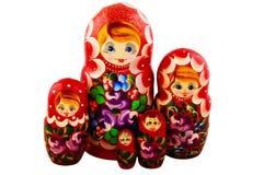 Ρωσικές κούκλες η ανασκόπηση απομόνωσε το λευκό Matryoshka Στοκ φωτογραφία με δικαίωμα ελεύθερης χρήσης