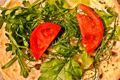 Ρωσικές τηγανίτες με τα λαχανικά και τα χορτάρια Στοκ Εικόνες