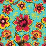 Ρωσική λαϊκή τέχνη Khokhloma Αφηρημένα λουλούδια σε ένα μπλε υπόβαθρο floral πρότυπο άνευ ραφής επίσης corel σύρετε το διάνυσμα α Στοκ Εικόνα